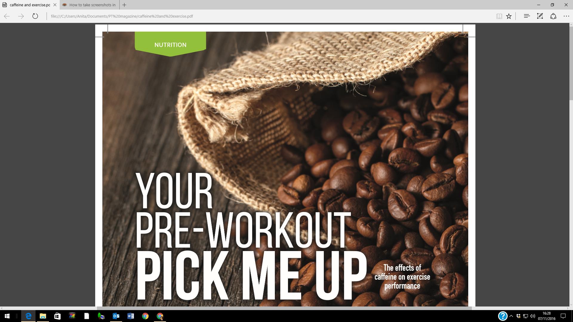 Pre-workout pick me up, Nov 2016